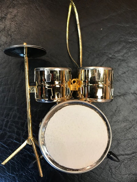 Drum Set Christmas Ornament Gold