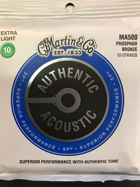 Martin AuthenticMartin Superior Performance Acoustic Guitar Strings - 92/8 Phosphor Bronze 12-string Extra Light