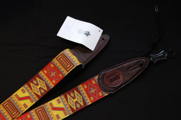 Levy's Woven Print Leather Backed Guitar Strap