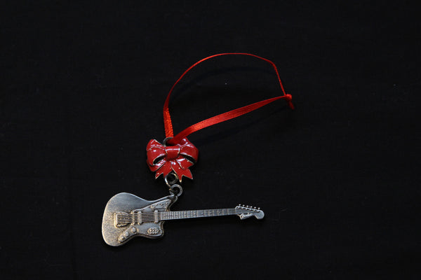 Silver Electric Guitar Metal Christmas Ornament