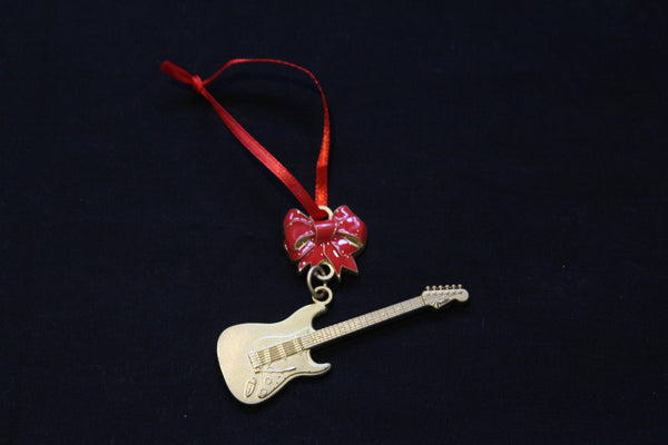 Brass Electric Guitar Christmas Ornament