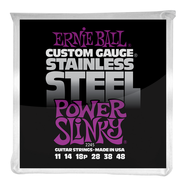 Ernie Ball POWER SLINKY STAINLESS STEEL WOUND ELECTRIC GUITAR STRINGS