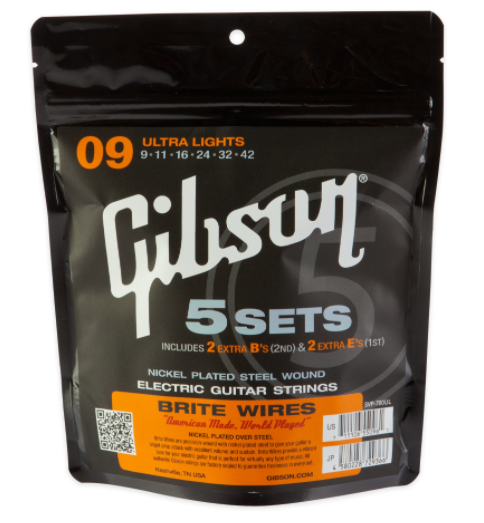 Gibson 700L Brite Wires Electric Strings - .010-.046 - Light - 5-pk