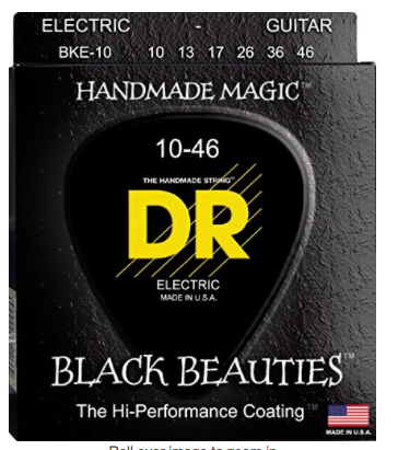 DR Strings Electric Guitar Strings, Black Beauties - Black Coated, 10-46