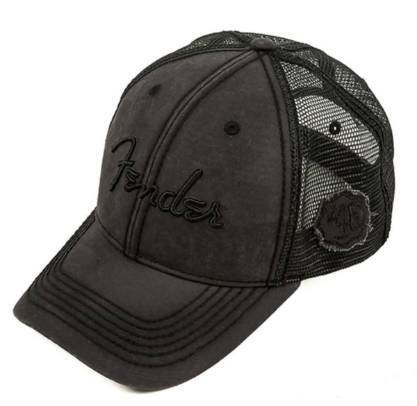 Fender Blackout Trucker Hat Adjustable Cap Black One Size 1946 Distressed Badge