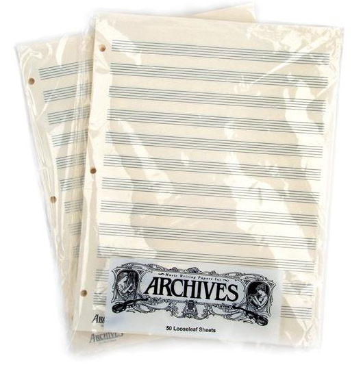 D'Addario Archives Looseleaf Music Sheets - LL12S 12 stave (50 sheets)