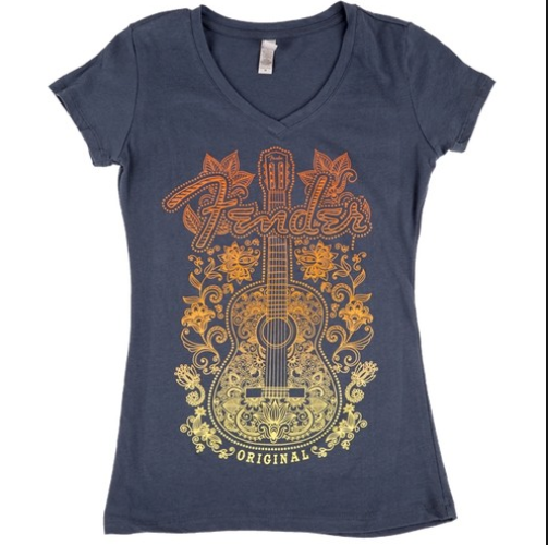 Fender Ladies Floral Acoustic T-Shirt, Small