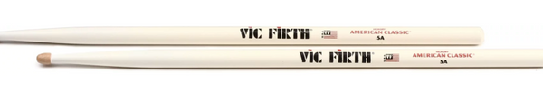 Vic Firth American Classic Drumsticks - 5A - Wood Tip - White Finish