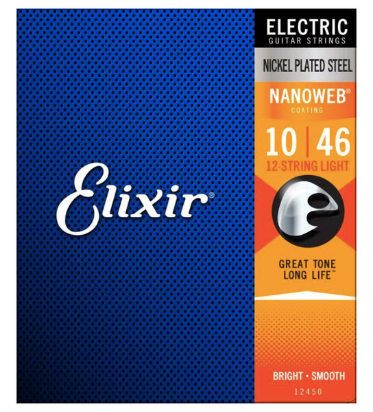 Elixir Strings 12450 Nanoweb Light 12-String Electric Guitar Strings