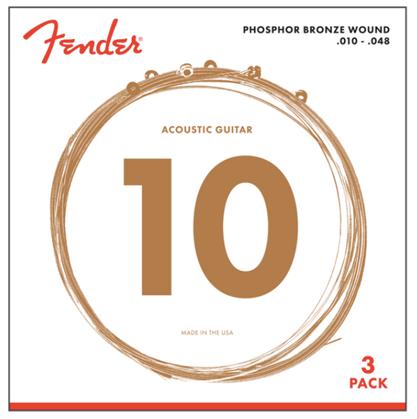 Fender PHOSPHOR BRONZE ACOUSTIC GUITAR STRINGS (3-PACK)