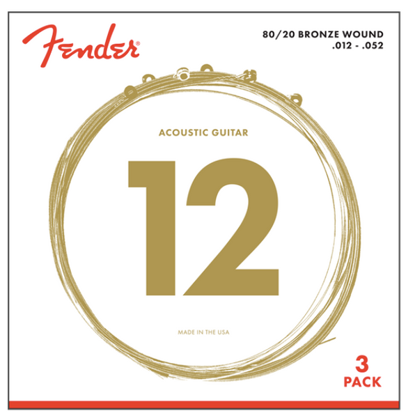 Fender  80/20 BRONZE ACOUSTIC STRINGS - 3-PACK
