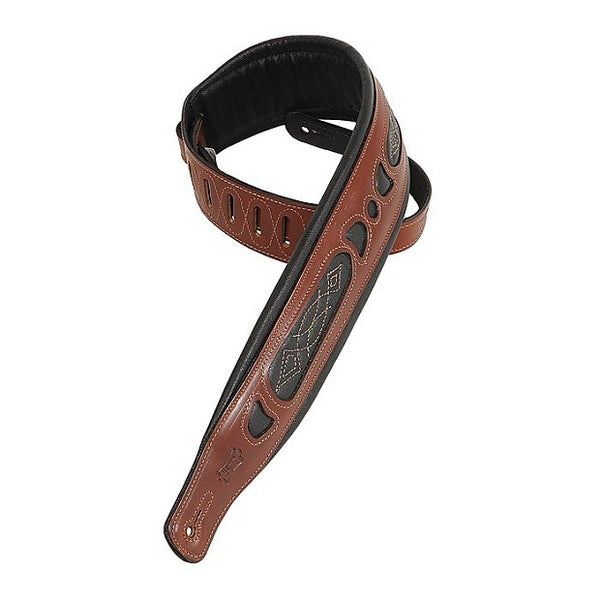 Levy's PM31 Veg-Tan Leather Guitar Strap, Walnut