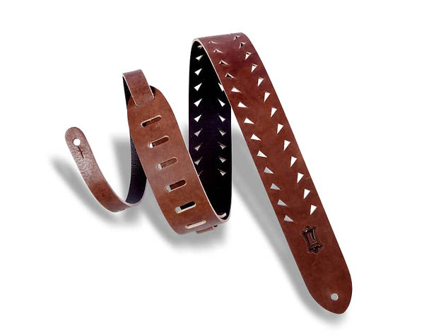 Levy's M12TTV-BRN Tiger Tooth Punch Out Premier Guitar Strap