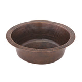 "BR14DB2 - 14"" Round Hammered Copper Bar Sink W/  2"" Drain Size"
