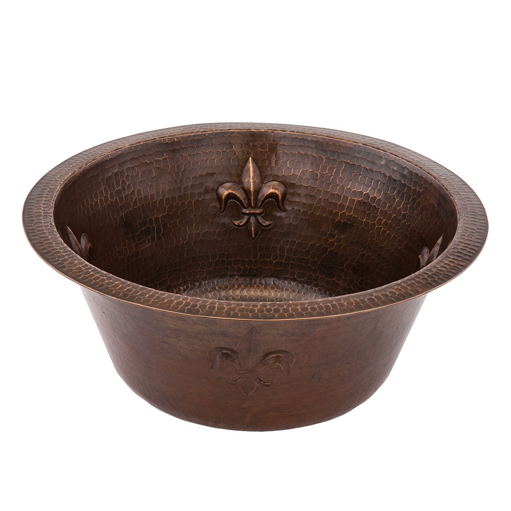 "BR16FDB2 - 16"" Round Copper Bar Sink W/ Fleur De Lis and 2"" Drain Size"