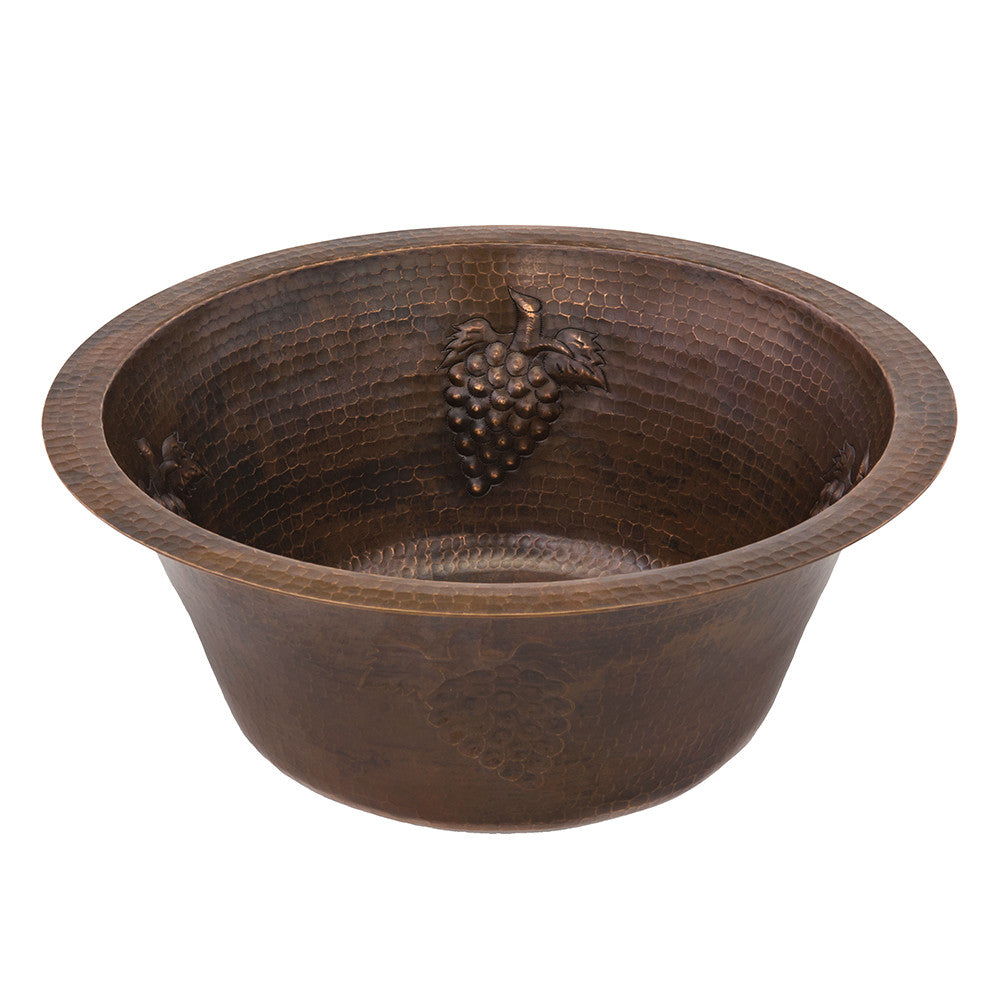 "BR16GDB3 - 16"" Round Copper Prep Sink W/ Grapes and 3.5"" Drain Size"