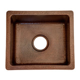 "BREC16DB - 16"" Gourmet Rectangular Hammered Copper Bar/Prep Sink"