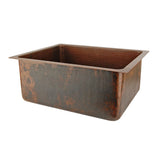"BREC20DB - 20"" Hammered Copper Kitchen/Bar/Prep Single Basin Sink"