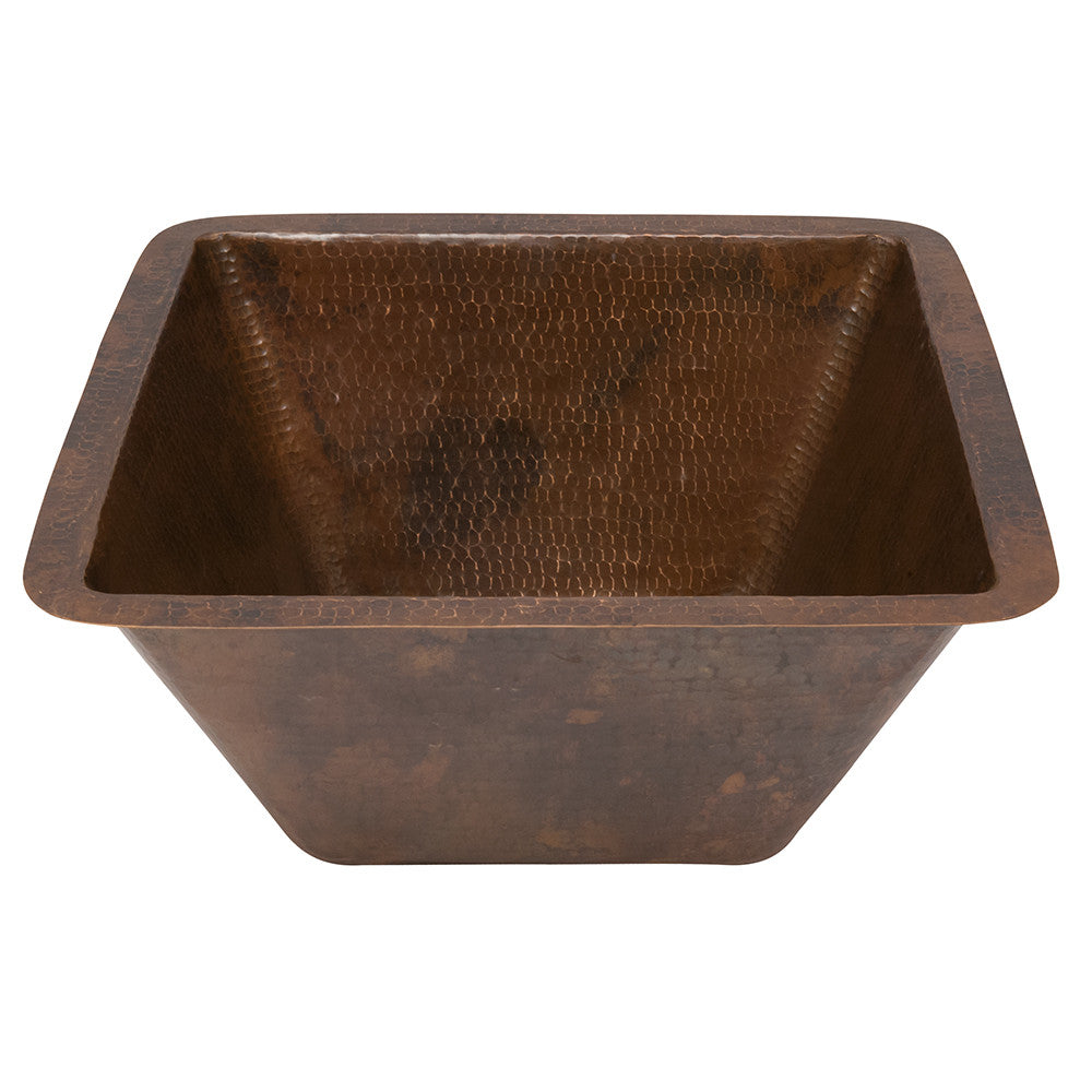 "BS15DB3 - 15"" Square Hammered Copper Bar/Prep Sink w/  3.5"" Drain Size"