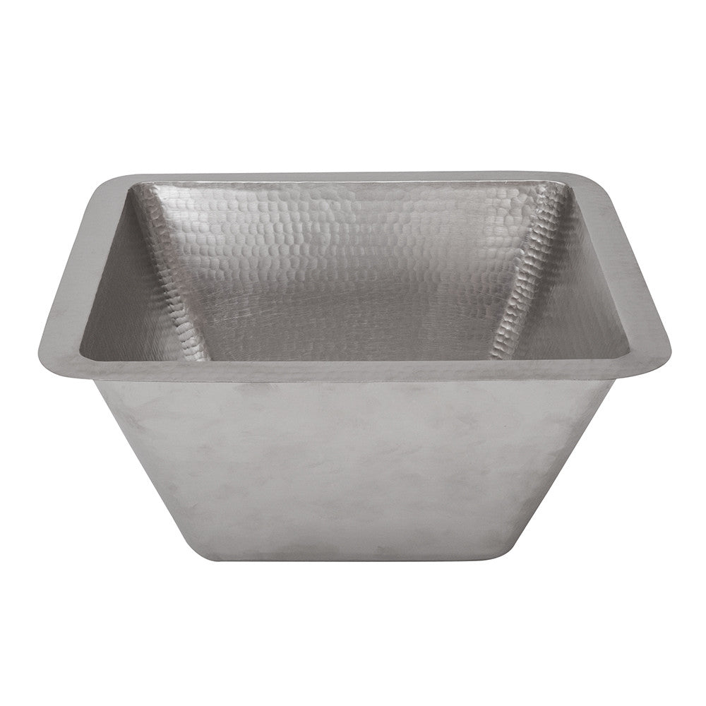 "BS15EN3 - 15"" Square Hammered Copper Bar/Prep Sink in Electroless Nickel w/ 3.5"" Drain Size"