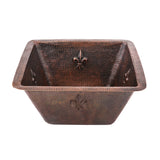 "BS15FDB3 - 15"" Square Fleur De Lis Copper Bar/Prep Sink w/  3.5"" Drain Size"