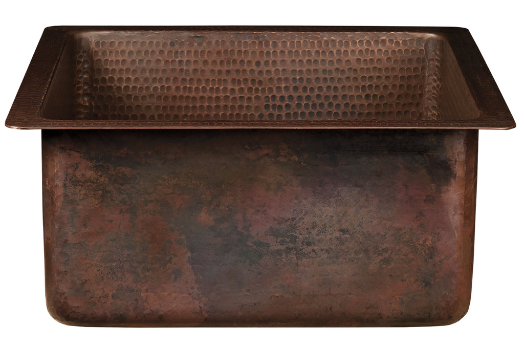 "16"" Square Hammered Copper Bar/Prep Sink with 3.5"" Drain Opening"