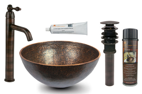 "13"" Round Hand Forged Old World Copper Vessel Sink with ORB Single Handle Vessel Faucet, Matching Drain and Accessories"