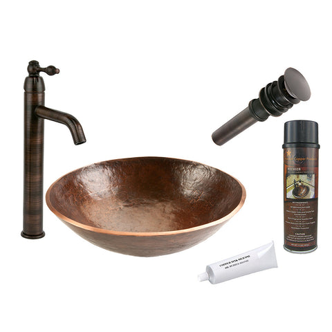 BSP1_PV16RDB - Round Hand Forged Old World Copper Vessel Sink with ORB Single Handle Vessel Faucet, Matching Drain and Accessories