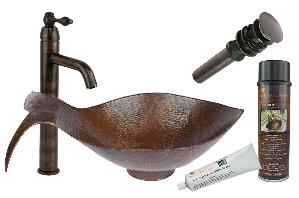 BSP1_PVFHDB - Fish Vessel Hammered Copper Sink with ORB Single Handle Vessel Faucet, Matching Drain and Accessories