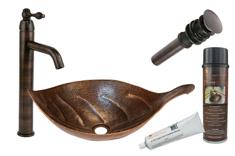 BSP1_PVLFDB - Leaf Vessel Hammered Copper Sink with ORB Single Handle Vessel Faucet, Matching Drain and Accessories
