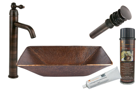 BSP1_PVMRECDB - Modern Rectangle Hand Forged Old World Copper Vessel Sink with ORB Single Handle Vessel Faucet, Matching Drain and Accessories