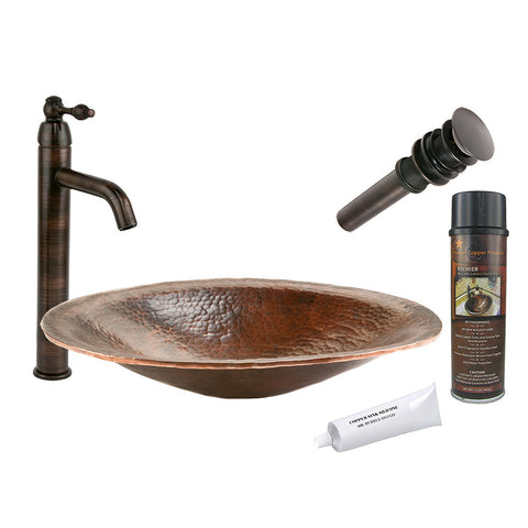 BSP1_PVOVAL20 - Oval Hand Forged Old World Copper Vessel Sink with ORB Single Handle Vessel Faucet, Matching Drain and Accessories