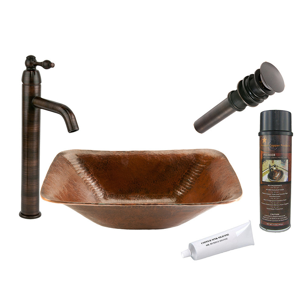 BSP1_PVREC17 - Rectangle Hand Forged Old World Copper Vessel Sink with ORB Single Handle Vessel Faucet, Matching Drain and Accessories