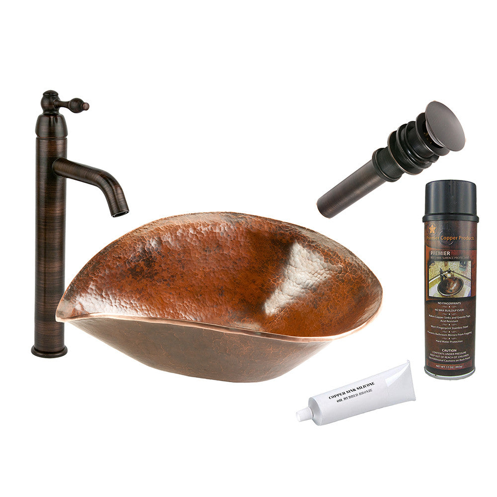 BSP1_PVSHELL17 - Free Form Hand Forged Old World Copper Vessel Sink with ORB Single Handle Vessel Faucet, Matching Drain and Accessories