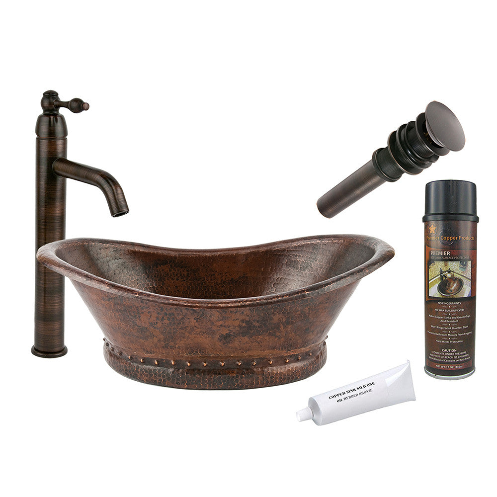 BSP1_VBT20DB - Bath Tub Vessel Hammered Copper Sink with ORB Single Handle Vessel Faucet, Matching Drain and Accessories