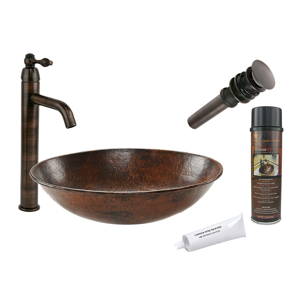 BSP1_VO17WDB - Oval Wired Rimmed Vessel Hammered Copper Sink with ORB Single Handle Vessel Faucet, Matching Drain and Accessories