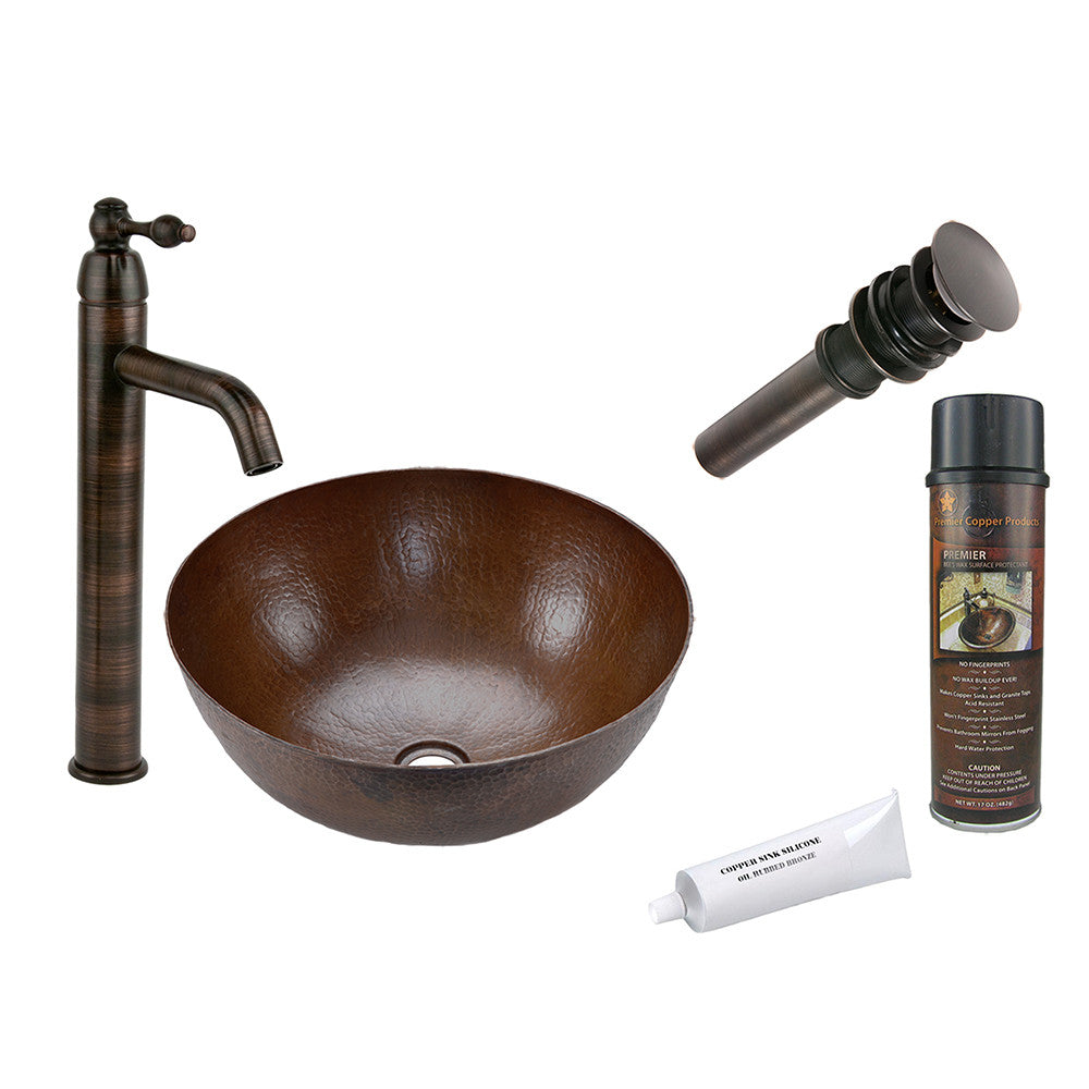 BSP1_VR13BDB - Small Round Vessel Hammered Copper Sink with ORB Single Handle Vessel Faucet, Matching Drain and Accessories