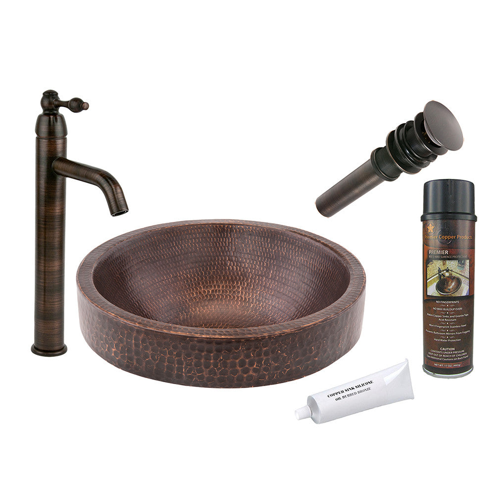 BSP1_VR15SKDB - Small Round Skirted Vessel Hammered Copper Sink with ORB Single Handle Vessel Faucet, Matching Drain and Accessories