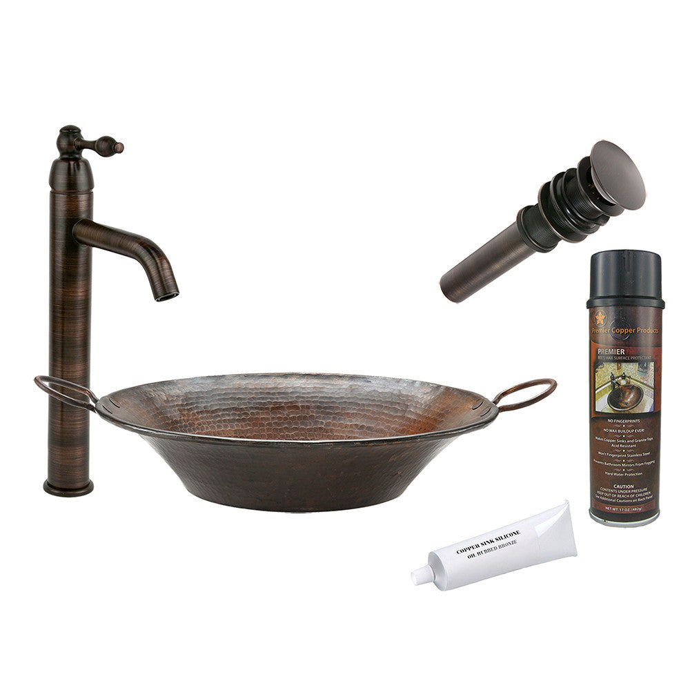 BSP1_VR16MPDB - Round Miners Pan Vessel Hammered Copper Sink with ORB Single Handle Vessel Faucet, Matching Drain and Accessories