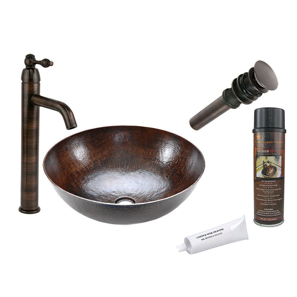 BSP1_VR17BDB - Large Round Vessel Hammered Copper Sink with ORB Single Handle Vessel Faucet, Matching Drain and Accessories