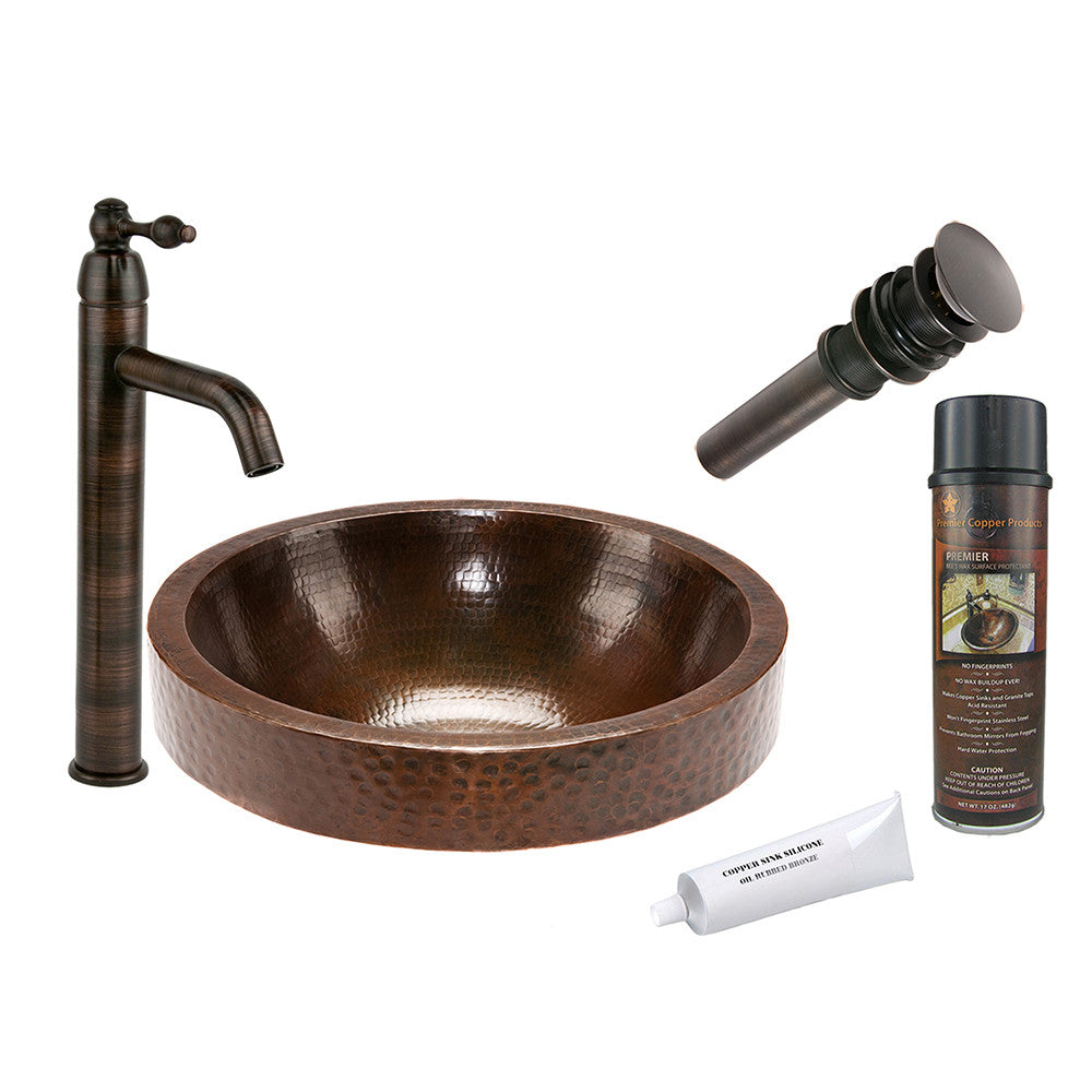 BSP1_VR17SKDB - Round Skirted Vessel Hammered Copper Sink with ORB Single Handle Vessel Faucet, Matching Drain and Accessories
