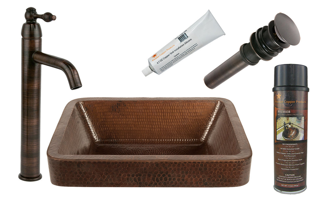 "BSP1_VREC17SKDB - 17"" Rectangle Skirted Vessel Hammered Copper Sink with ORB Single Handle Vessel Faucet, Matching Drain and Accessories"