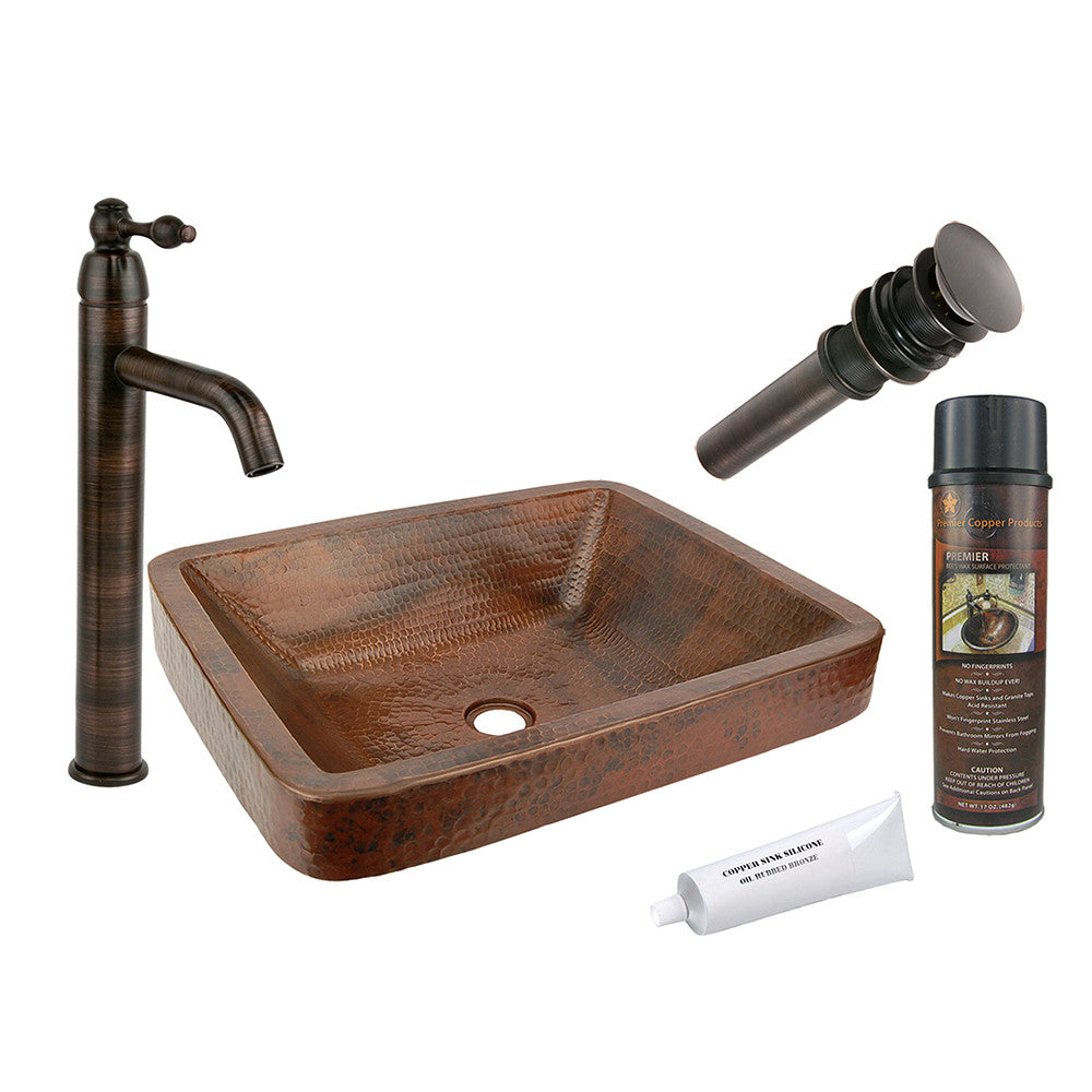 BSP1_VREC19SKDB - Rectangle Skirted Vessel Hammered Copper Sink with ORB Single Handle Vessel Faucet, Matching Drain and Accessories
