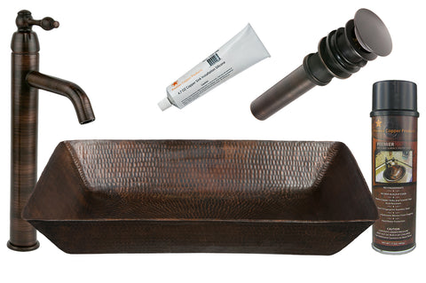 "20"" Rectangle Vessel Hammered Copper Sink with ORB Single Handle Vessel Faucet, Matching Drain and Accessories"