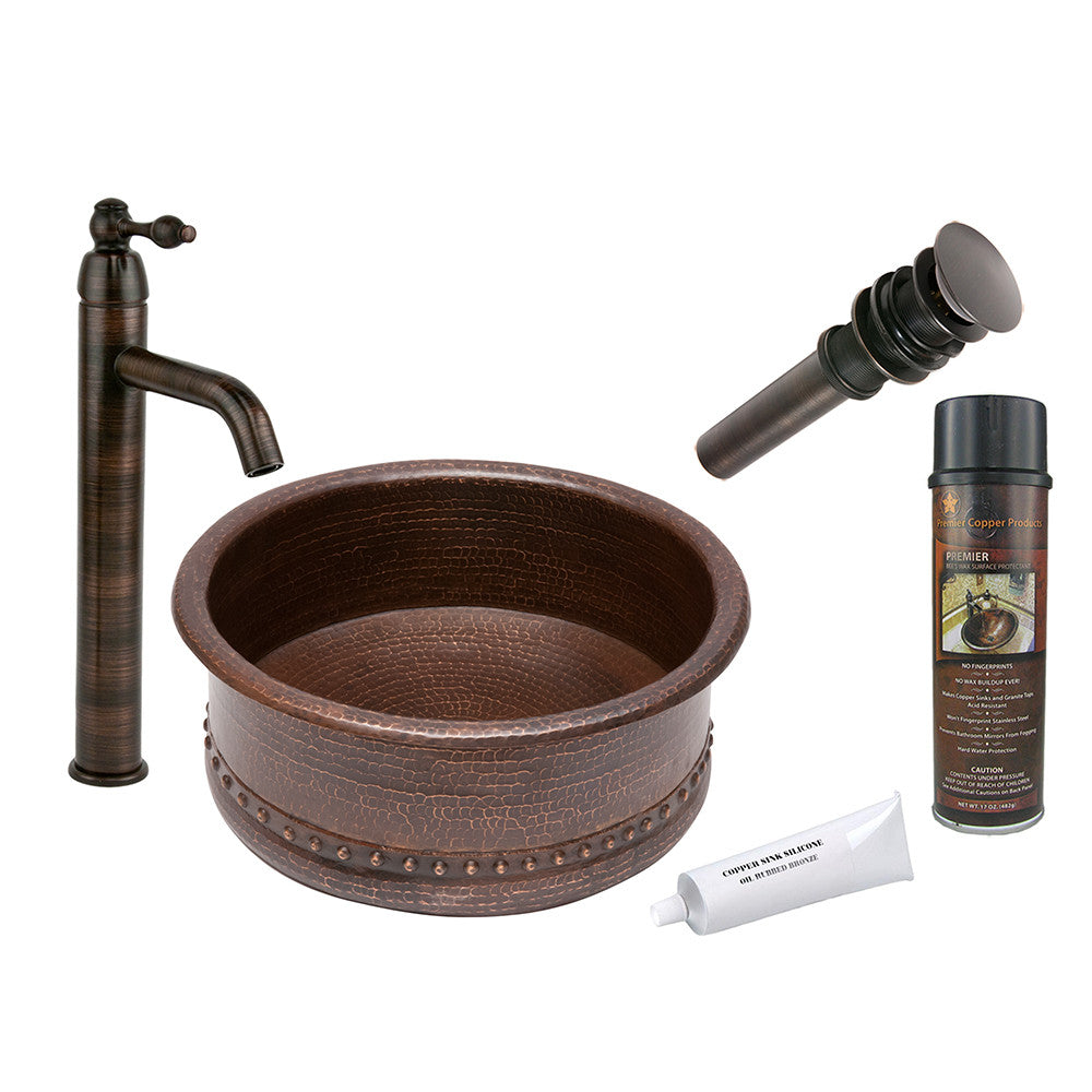 BSP1_VRT15DB - Round Vessel Tub Hammered Copper Sink with ORB Single Handle Vessel Faucet, Matching Drain and Accessories