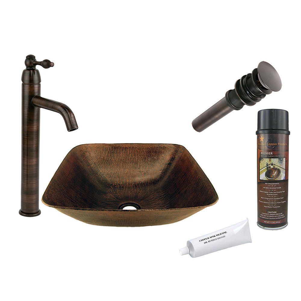 BSP1_VSQ14BDB - Square Vessel Hammered Copper Sink with ORB Single Handle Vessel Faucet, Matching Drain and Accessories