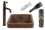 BSP1_VSQ15SKDB - Square Skirted Vessel Hammered Copper Sink with ORB Single Handle Vessel Faucet, Matching Drain and Accessories