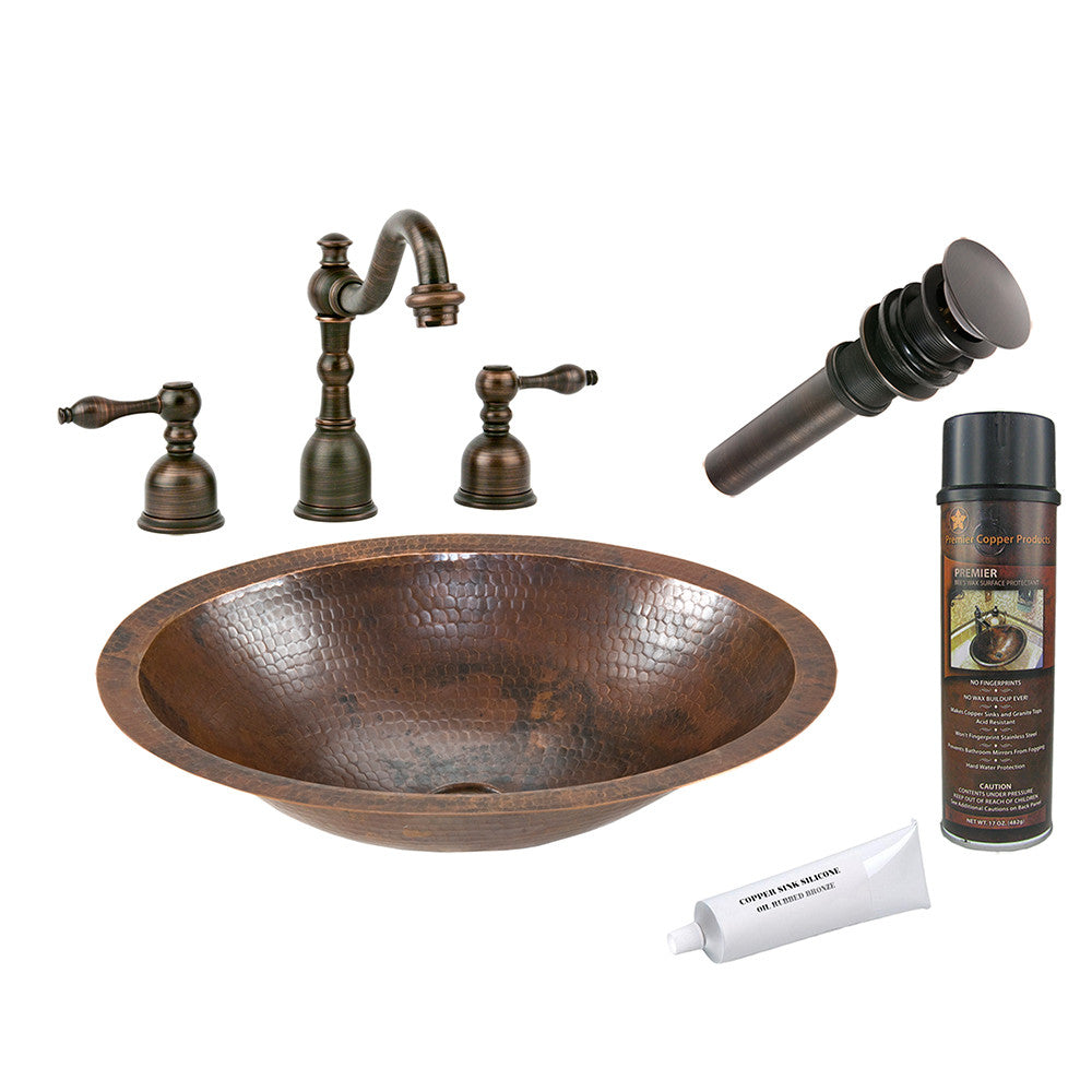 BSP2_LO17FDB - Small Oval Under Counter Hammered Copper Sink with ORB Widespread Faucet, Matching Drain and Accessories