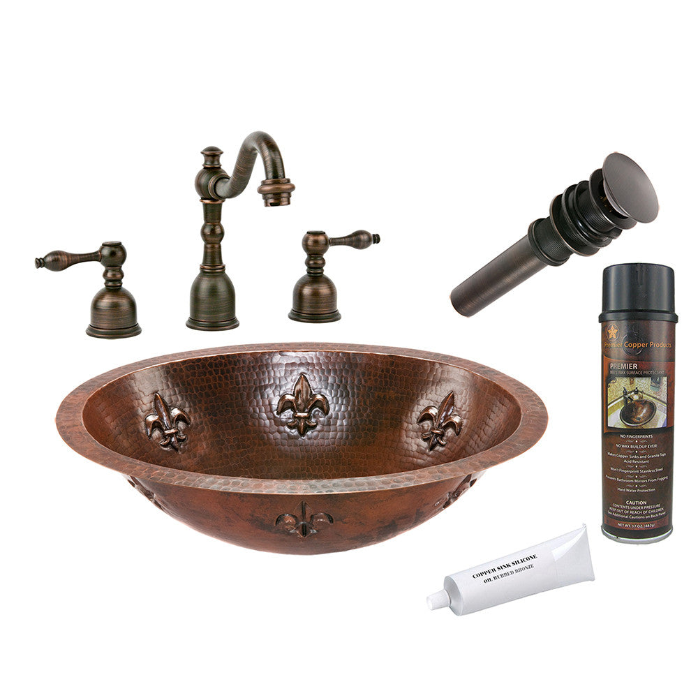 BSP2_LO19FFLDB - Oval Fleur De Lis Under Counter Hammered Copper Sink with ORB Widespread Faucet, Matching Drain and Accessories