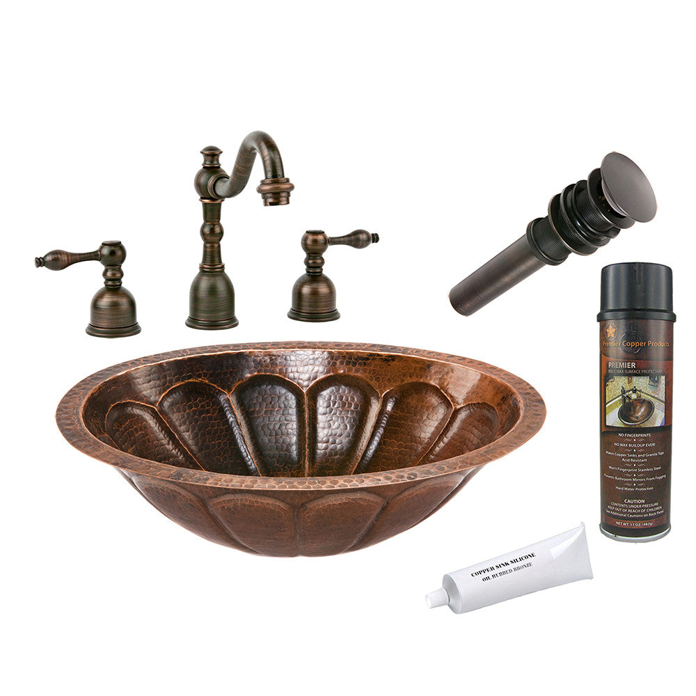 BSP2_LO19FSBDB - Oval Sunburst Under Counter Hammered Copper Sink with ORB Widespread Faucet, Matching Drain and Accessories